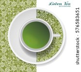 cup of green tea with doodle... | Shutterstock .eps vector #576583651