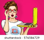 surprised woman in glasses with ... | Shutterstock . vector #576586729