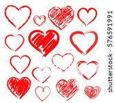 vector hearts set. hand drawn | Shutterstock .eps vector #576591991