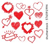 vector hearts set. hand drawn | Shutterstock .eps vector #576591994