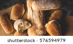 freshly baked bread loaves on... | Shutterstock . vector #576594979