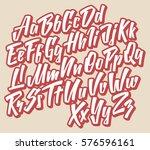 handwritten lettering font.... | Shutterstock .eps vector #576596161