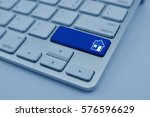 house icon on modern computer... | Shutterstock . vector #576596629