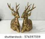 Golden Deer Statues With Ruby...