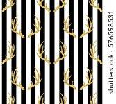 seamless gold glitter antler... | Shutterstock .eps vector #576598531