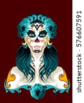 day of the dead woman portrait... | Shutterstock .eps vector #576607591