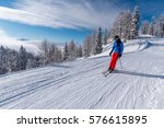 large view on the skier in alps ... | Shutterstock . vector #576615895