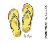 flip flop sandals   doodle...   Shutterstock .eps vector #576618427
