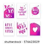 valentine's day cards with hand ... | Shutterstock .eps vector #576623029