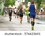 group of marathon runners on...   Shutterstock . vector #576623641