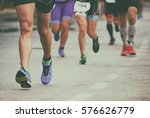 group of marathon runners on... | Shutterstock . vector #576626779