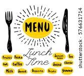 menu  fork  knife  lunch time.... | Shutterstock .eps vector #576631714