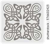 monochrome icon with celtic art ... | Shutterstock .eps vector #576632425