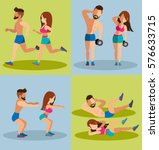 couple running and weight... | Shutterstock .eps vector #576633715
