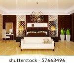 luxury bedroom in brown color...   Shutterstock . vector #57663496