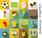 soccer football icons set. flat ... | Shutterstock . vector #576637957