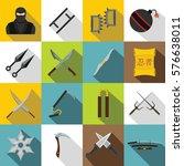 Ninja Tools Icons Set. Flat...