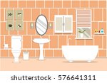 bathroom with sink with bathub... | Shutterstock .eps vector #576641311