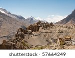The new and old monastery in Dhankar of Spiti Valley in the Himalayas. - stock photo