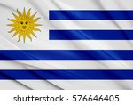 fabric texture flag of uruguay | Shutterstock . vector #576646405
