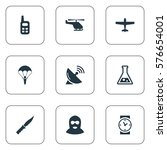 set of 9 simple war icons. can... | Shutterstock .eps vector #576654001