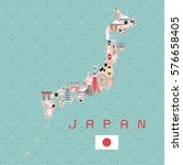japan landmarks travel and... | Shutterstock .eps vector #576658405
