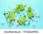 green refreshing mint popsicles ... | Shutterstock . vector #576663901