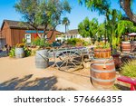 Wooden Barrels And Cart In Old...