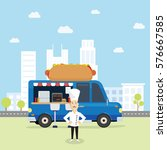 food truck selling hamburger... | Shutterstock .eps vector #576667585