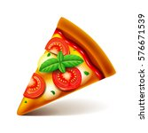 margarita pizza slice isolated...