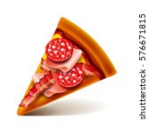 meat pizza slice isolated photo ... | Shutterstock .eps vector #576671815