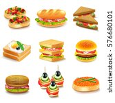 sandwiches icons detailed photo ... | Shutterstock .eps vector #576680101