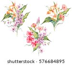 set of watercolor tropical... | Shutterstock . vector #576684895