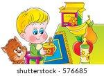 little child at breakfast   Shutterstock . vector #576685