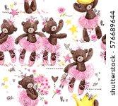 Cute Teddy Bear Seamless...