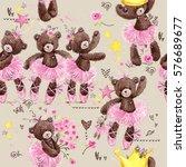 cute teddy bear seamless... | Shutterstock . vector #576689677