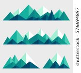 mountains low poly style set.... | Shutterstock .eps vector #576694897