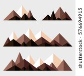 mountains low poly style set.... | Shutterstock .eps vector #576694915