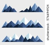 mountains low poly style set.... | Shutterstock .eps vector #576694924