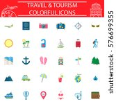 travel flat pictograms package  ...