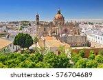 the cathedral in jerez de la... | Shutterstock . vector #576704689
