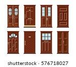 vector set of brown wooden door ... | Shutterstock .eps vector #576718027