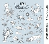 seafood set icons or objects... | Shutterstock .eps vector #576730681