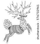 Zentangle Stylized Deer. Ethni...
