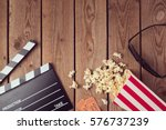 movie clapper board  3d glasses ... | Shutterstock . vector #576737239