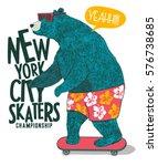 cute skater bear vector design... | Shutterstock .eps vector #576738685