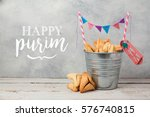 purim holiday greeting card... | Shutterstock . vector #576740815