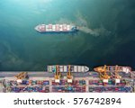 container ship in export and... | Shutterstock . vector #576742894