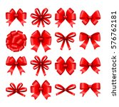 big set of decorative red gift... | Shutterstock .eps vector #576762181