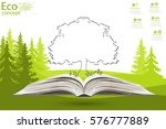 green paper tree growing from... | Shutterstock .eps vector #576777889